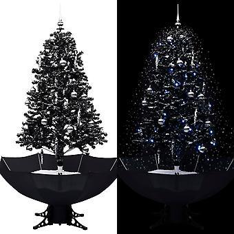 vidaXL ثلجي شجرة عيد الميلاد مع قاعدة مظلة أسود 170 سم PVC