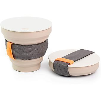 DZK Collapsible Coffee Cup - Reusable and Portable Pocket-Sized Silicone Cup with Lid - Leakproof