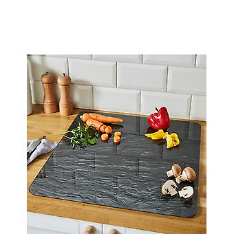 Wenko WENKO Multi worktop Slate-for Glass Ceramic cookers, Cutting Board, Tempered, Black, 50 x 56 x 0.5 cm