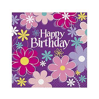 16 Serviettes en papier Happy Birthday fleurs 33 x 33 cm