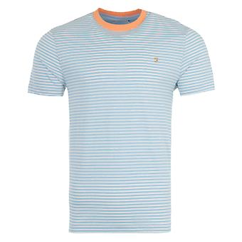 Farah Daytona Organic Cotton Slim Fit Stripe T-Shirt - Ocean Blue