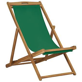 vidaXL 沙滩椅折叠实木柚木绿色
