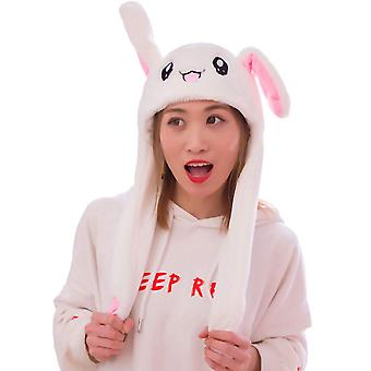 Rabbit Hat Ear Moving Jumping Hat Funny Bunny Plush Hat Cap For Women Girls, Cosplay Christmas Party Holiday Hat (white)