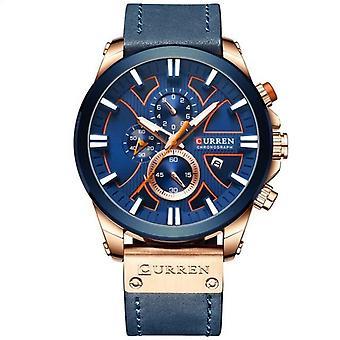 Orologi uomo al quarzo di lusso di marca (blu)