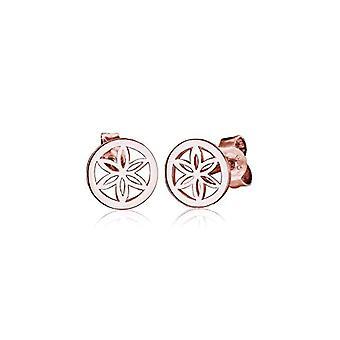 Elli Dames Parel oorbellen in Zilver 925 met Bloem patroon, Rose Gold