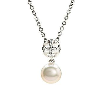 Eye Candy necklace woman necklace 925 Pendant in silver Sterling rhodium with pearl of cultivated pearls and 9 white zircons 46 cm Ref. 4045425027443