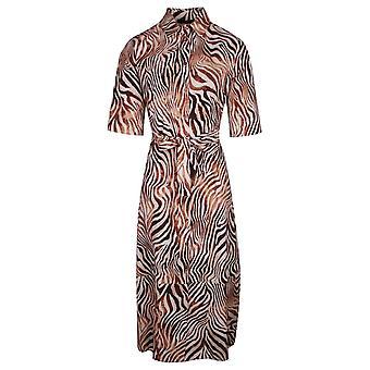 Latte Shades Of Brown Zebra Print Three Quarter Sleeve Shirt Dress With Belt