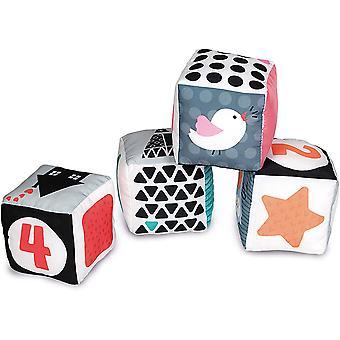 17321 Schwarz & White Würfel, 4 lehrreiche Plüschwürfel, weiches Spielzeug für Babys Entwicklung,