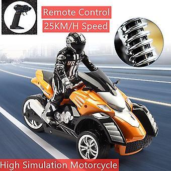Alta simulación RC motocicleta control remoto moto drift coche flash luz rotación de juego (naranja)