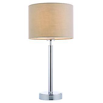 Lampe de table plaque chromée, abat-jour en tissu Taupe avec prise USB