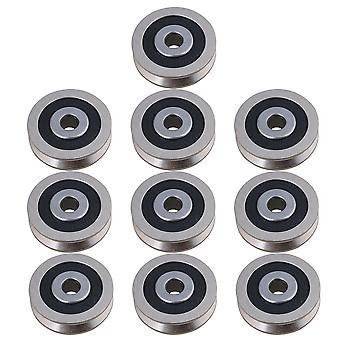 10pcs Roulement à billes Poulie 6000RS V Type Accessoires de porte 0.6x3x0.8cm