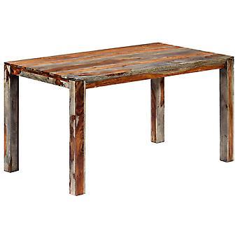 """שולחן אוכל vidaXL אפור 140 x 70 x 76 ס""""מ עץ מלא"""