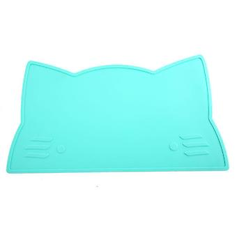 Waterproof Childrens Cat Placemats Silicone Dining Table Mats Kids Dinner Mat(Blue)