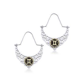 Biggdesign pour femmes Boucles d'oreilles en argent Gémeaux, Détail en bronze, Icône du zodiaque, Bijoux spéciaux du zodiaque, Argent 925 carats