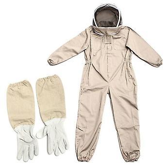 Professionele geventileerde full body bijenteelt pak met lederen handschoenen