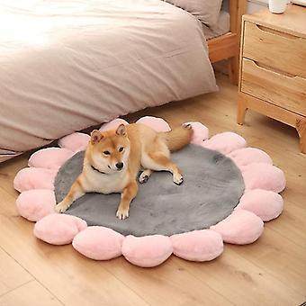 Round Flower Pet Cat Dog Plush Mat Pet Bed, Specification: 110cm(Gray )