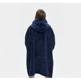 Lazy Tv Hooded Sweater Blanket Unisex Pajamas Kangaroo Pocket(Blue)