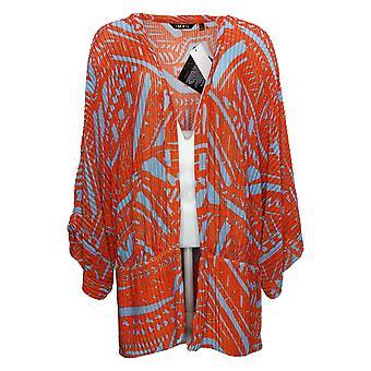IMAN Global Chic Women's Sweater Herringbone Mesh Knit Topper Orange 742673