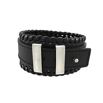 Black Leather Buckle Strap Wristband Chrome Hardware