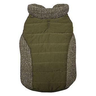 Fashion Pet Sweater Trim Puffy Dog Coat Olive - Small