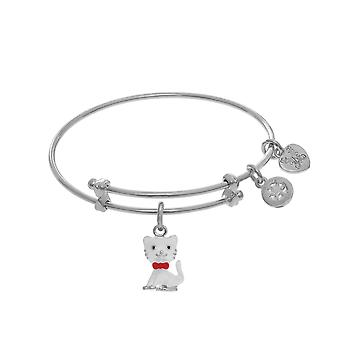 Enamel Cat Charm Adjustable Bangle Girls Bracelet