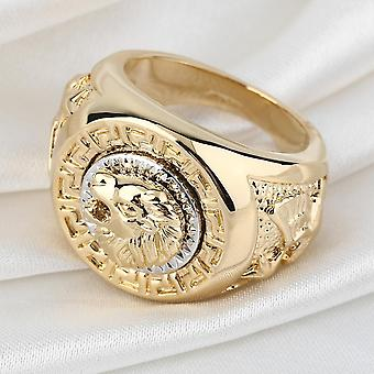 Fashion Men's 19mm Noble Band Ring Cool Lion Head 18k Yellow Gold Plated