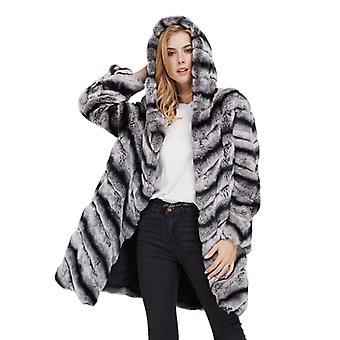 Mimigo avec capuche Femmes Long Chinchilla Manteau Chaud Coton Liner Manches Longues Naturel Et Authentique Rex Lapin Fourrure Veste
