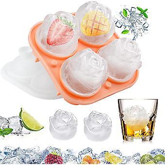 4 plateaux de glaçons à cavité 3D silicone rose bac à glace moule avec couvercle amovible en forme d'entonnoir