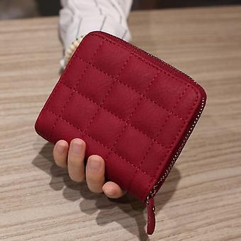 Frauen Kurze Geldbörsen Pu Leder Weiblich Karierte Geldbörsen Kartenhalter Geldbörse Mode Frau Kleiner Reißverschluss Geldbörse Münze Geldbörse