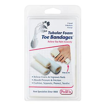 Pedifix tubular foam toe bandages, 3 toe bandages, 1 kit