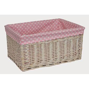 Panier de rangement ligné rose tacheté