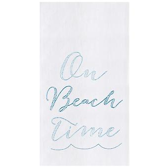 On Beach Time Flour Sack Kitchen Towel Cotton 27 Inches
