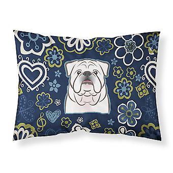 Blue Flowers White English Bulldog  Fabric Standard Pillowcase