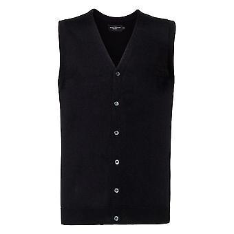 Russell Mens Sleeveless Cotton Acrylic V Neck Cardigan