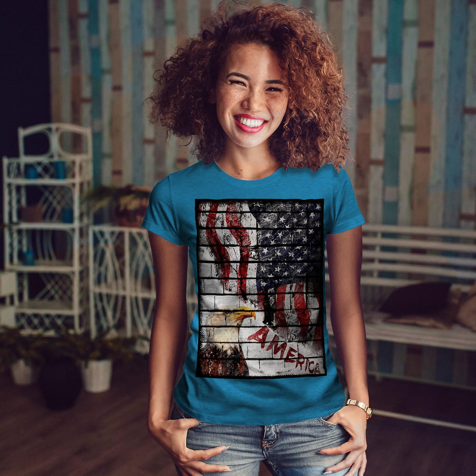 American Eagle drapeau USA Royal BlueT-chemise femme | Wellcoda