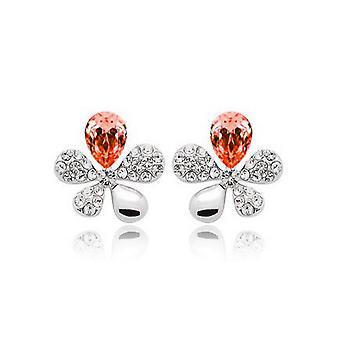Womens Orange Kristallblume Steinen Schmetterlinge Ohrstecker