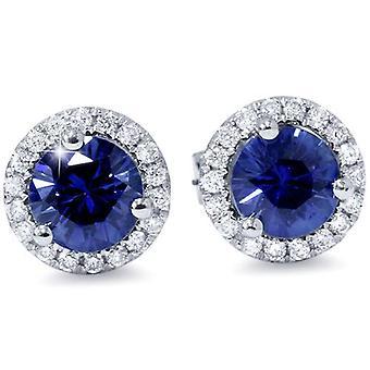 1 ct الأزرق الياقوت الماس هالو ترصيع الأقراط 10k الذهب الأبيض