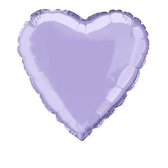 Folie ballong hjärta fast metalliskt lavendel