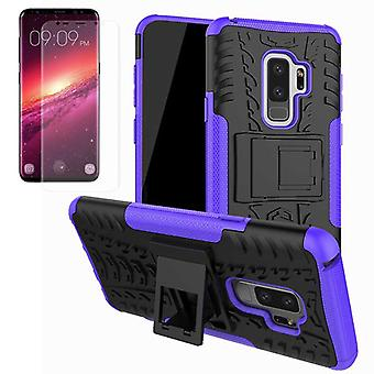 Hybrid case bag of 2 piece purple for Samsung Galaxy S9 plus G965F + TPU tank protector