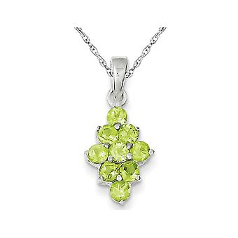 Natural Green Peridot Cluster Pendant Necklace in Sterling Silver