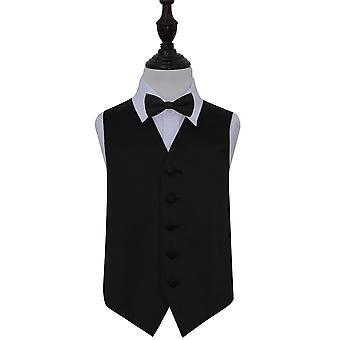 Zwart vlakte Satin Wedding Vest & Bow Tie Set voor jongens