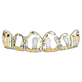 Silver Diamond cut Grillz - one size fits all - HOLLOW top