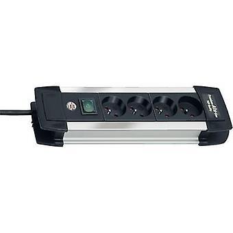 Brennenstuhl 1391004014 Tira de enchufe (+ interruptor) 4x Negro, Conector FR de aluminio 1 pc(s)
