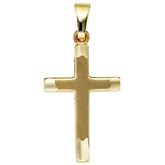 fine gold cross pendant cross 333 partially frosted gold yellow gold