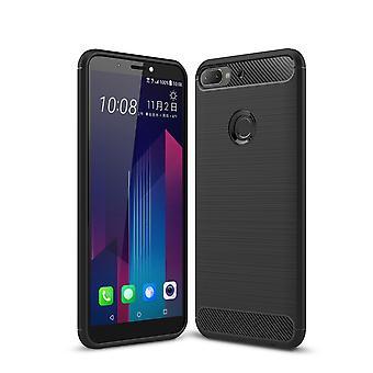 HTC の欲望 12 プラス カバー シリコーン ブラック カーボン見てバンパー 211790 のケース TPU モバイル カバー