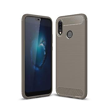 Huawei P20 Lite TPU case carbon fiber optics bescherming cover grijs geborsteld