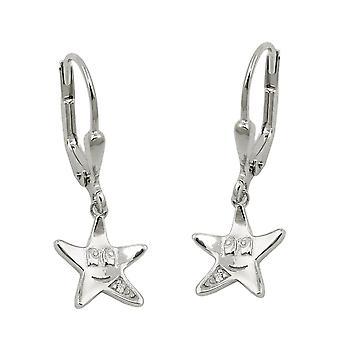 Brisur 25x9mm Stern mit Gesicht Zirkonia weiß rhodiniert Silber 925