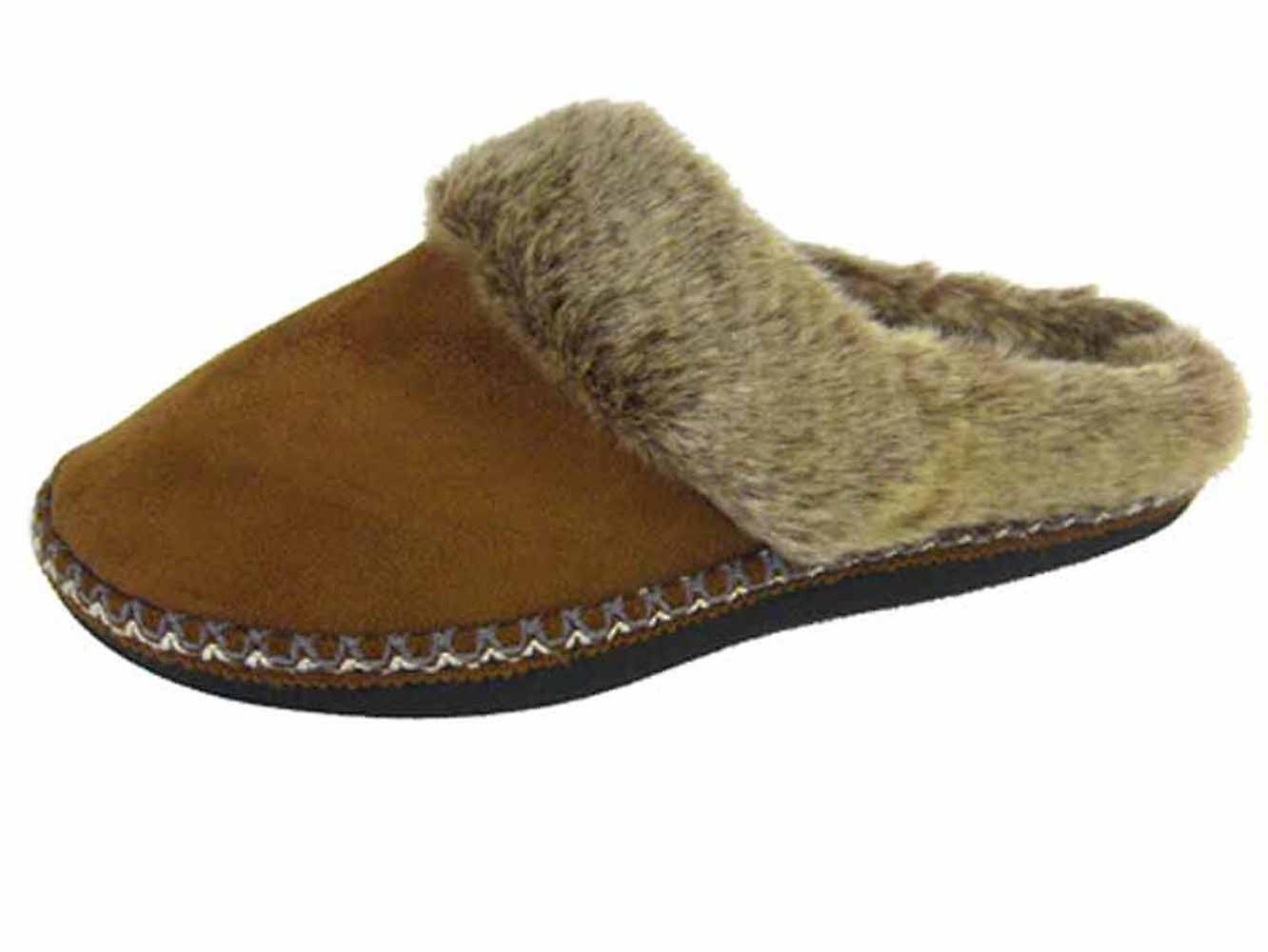 Coolers Womens Faux Fur Lined Microsuede Mule Slippers iNC7t
