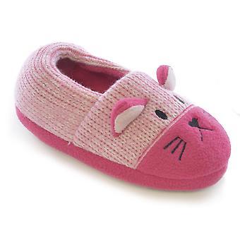 SlumberzzZ Girls Cat Design Knitted & Fleece Slipper - Elasticated Heel FT0495