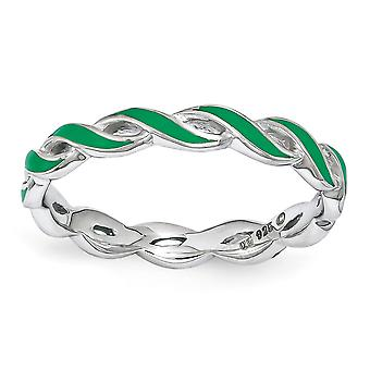 2mm 925 Sterling Silver Polished Stackable Expressions Green Enamel Ring Jewelry Gifts for Women - Ring Size: 5 to 10